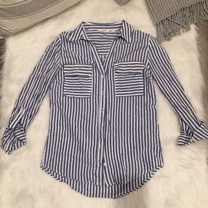 Blu Pepper Blue & White Stripped Button Down Shirt